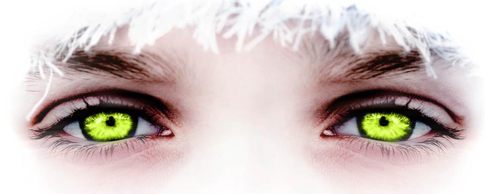 Auffallende grüne Augen